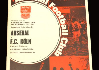 Arsenal v FC Koln 09.03.1971 - European Fairs Cup 4th Round 1st Leg