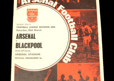Arsenal v Blackpool 20.03.1971