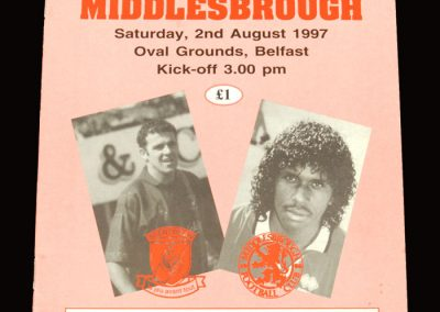Middlesbrough v Glentoran 02.08.1997 - Friendly