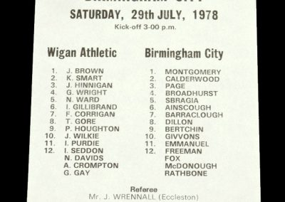 Wigan v Birmingham 29.07.1978 (Friendly)
