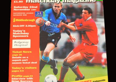 Middlesbrough v Swindon 22.11.1997