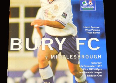 Middlesbrough v Bury 06.12.1997