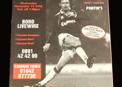 Middlesbrough Reserves v Sunderland Reserves 13.11.1996
