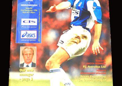 Middlesbrough v Blackburn 21.12.1996 - Postponed