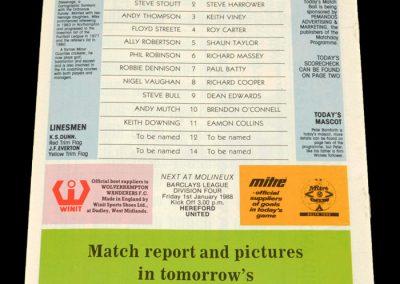 Wolves v Exeter 28.12.1987