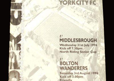 Middlesbrough v York City 31.07.1996 - Friendly