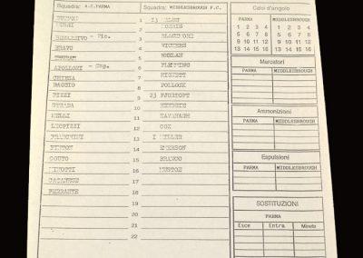 Middlesbrough v Parma 03.08.1996 - Friendly