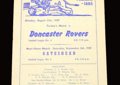 Millwall v Doncaster 31.08.1959