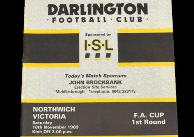 Darlington v Northwich Victoria 18.11.1989 - FA Cup 1st Round