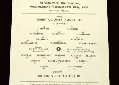 Aston Villa Youth v Derby Youth 18.11.1959