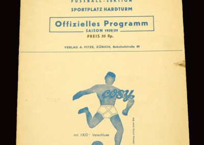 Grasshoppers v Zurich 22.11.1959 | Red Star v Solduno 22.11.1959