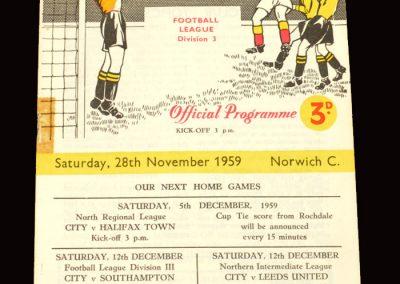 Bradford City v Norwich 28.11.1959