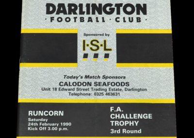 Darlington v Runcorn 24.02.1990 - FA Trophy 3rd Round