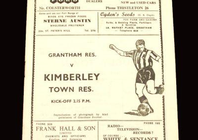 Grantham Reserves v Kimberley Town 12.12.1959