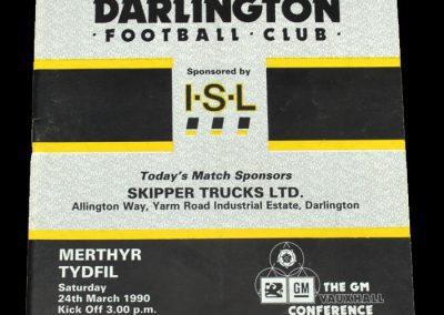 Darlington v Merthyr Tydfil 24.03.1990