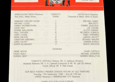 Man Utd Reserves v Aston Villa Reserves 02.09.1998