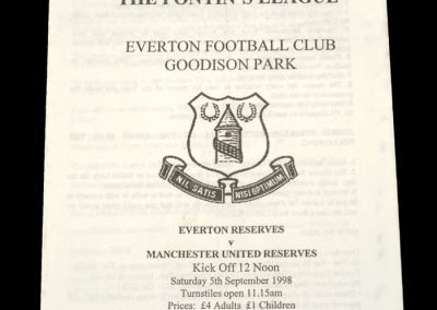 Man Utd Reserves v Everton Reserves 05.09.1998
