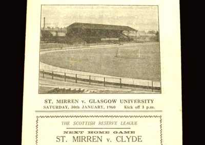 St Mirren v Glasgow University 30.01.1960 (15-0 Baker scores 9)