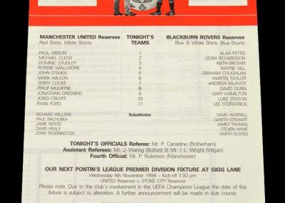 Man Utd Reserves v Blackburn Reserves 14.10.1998