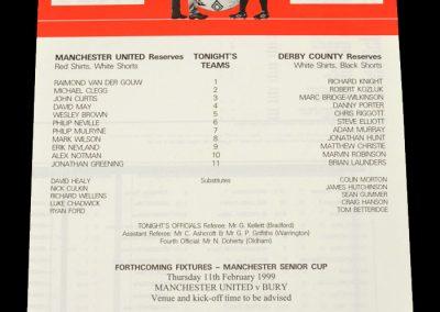 Man Utd Reserves v Derby Reserves 27.01.1999