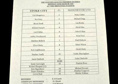 Man Utd Reserves v Stoke Reserves 22.03.1999 - Teamsheet