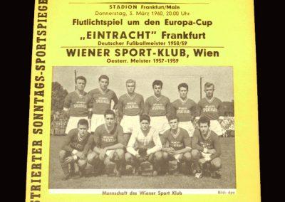 Eintracht v Vienna 03.03.1960 - European Cup