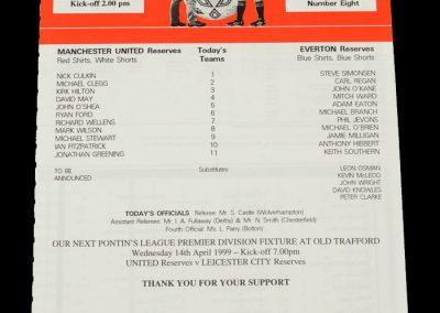 Man Utd Reserves v Everton Reserves 27.03.1999