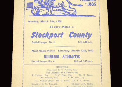Millwall v Stockport 07.03.1960