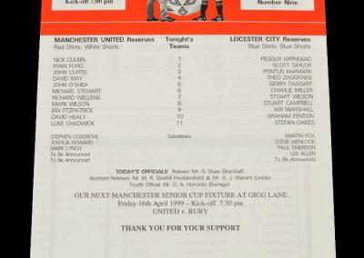 Man Utd Reserves v Leicester Reserves 13.04.1999