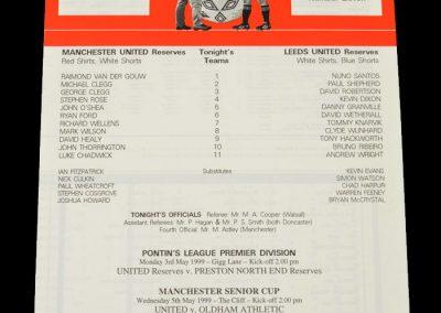 Man Utd Reserves v Leeds Reserves 28.04.1999