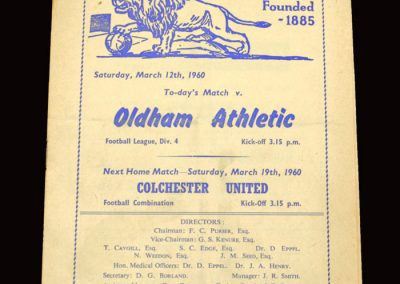 Millwall v Oldham 12.03.1960