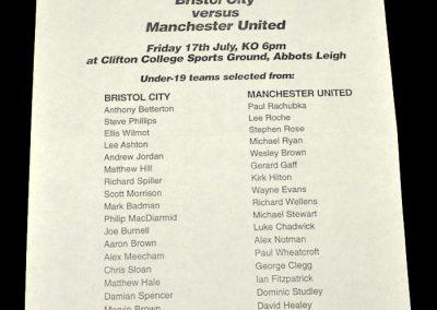 Man Utd Youth v Bristol City Youth 17.07.1998