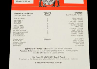 Man Utd Youth v Everton Youth 19.12.1998 - FA Youth Cup 3rd Round