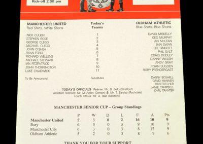 Man Utd v Oldham 05.05.1999 - Manchester Senior Cup