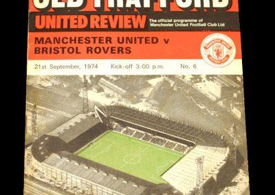 Man Utd v Bristol Rovers 21.09.1974