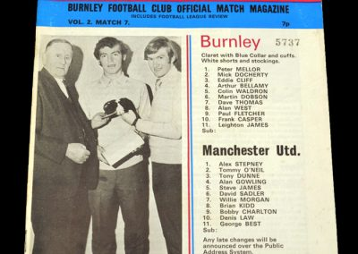 Man Utd v Burnley 18.10.1971 - League Cup 3rd Round Replay