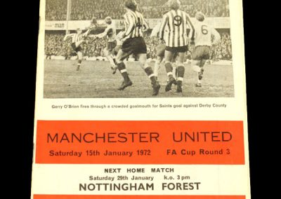 Man Utd v Southampton 15.01.1972 - FA Cup 3rd Round