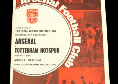 Arsenal v Spurs 05.09.1970