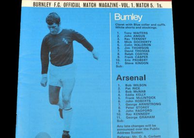 Arsenal v Burnley 12.09.1970