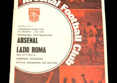 Arsenal v Lazio 23.09.1970 - European Fairs Cup 1st Round 2nd Leg