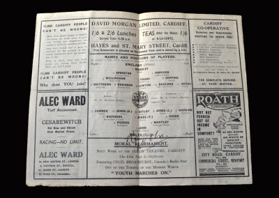 England v Wales 22.10.1939 (Lawton Debut, John Signature)