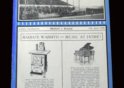 Watford v Arsenal Reserves 10.04.1928