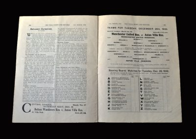 Aston Villa Reserves v Man Utd Reserves 26.12.1933