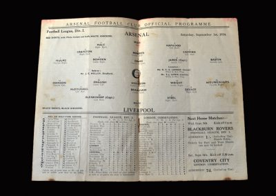 Arsenal v Liverpool 01.09.1934