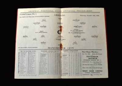 Arsenal v Man City 13.10.1934