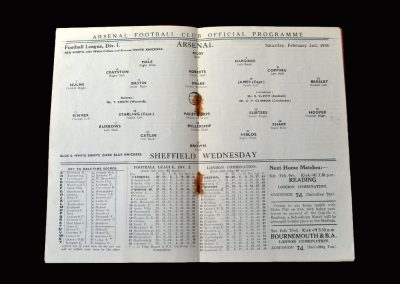 Arsenal v Sheff Wed 02.02.1935