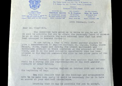 Islington Corinthians invitation letter to Ted Wingfield 19.02.1937