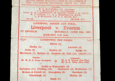 Liverpool v Everton 14.06.1947 - Liverpool Senior Cup Final (Awaiting the Stoke v Sheff Utd result)