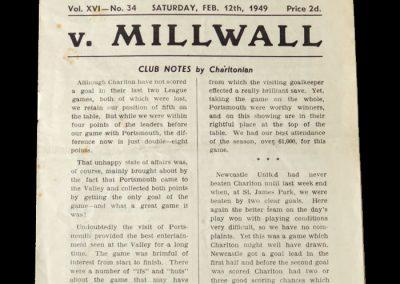 Charlton v Millwall 12.02.1949 - Friendly