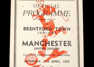 Brentford v Man Utd 11.04.1953 - Youth Cup Semi Final